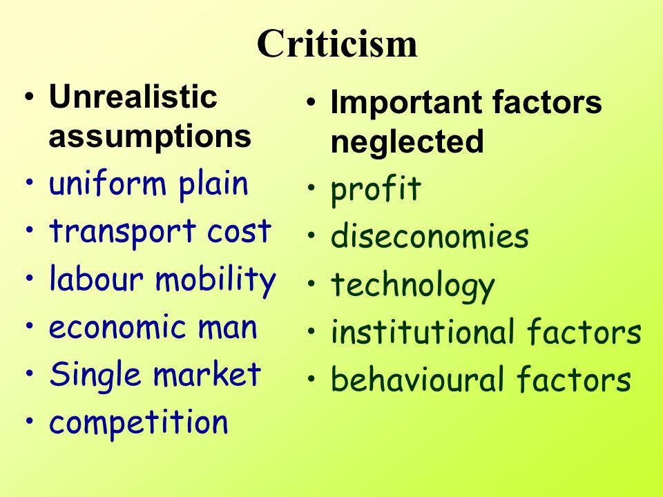 Criticism Unrealistic assumptions Important factors neglected