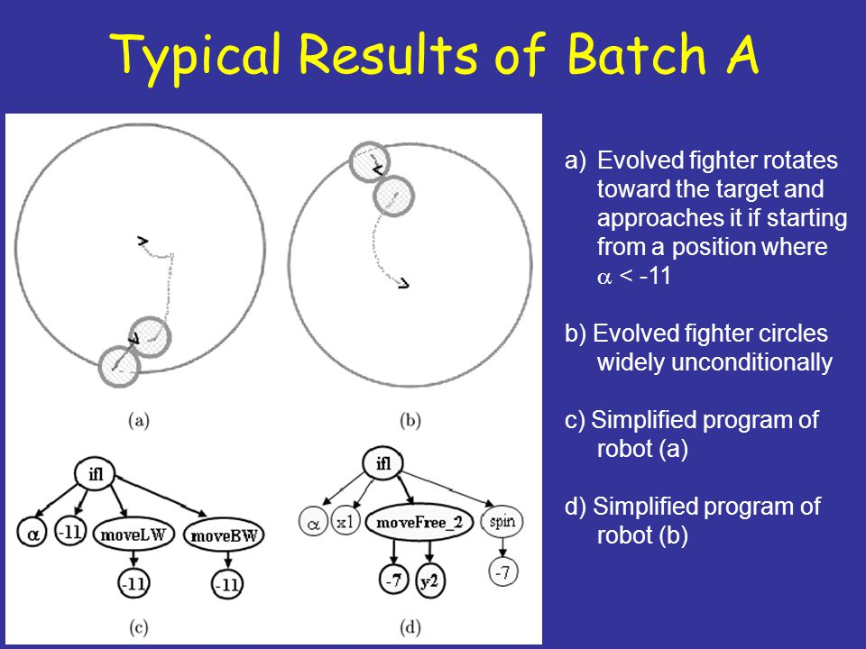 Typical Results of Batch A a)Evolved fighter rotates toward the target and approaches it if starting from a position where  < -11 b) Evolved fighter circles widely unconditionally c) Simplified program of robot (a) d) Simplified program of robot (b)