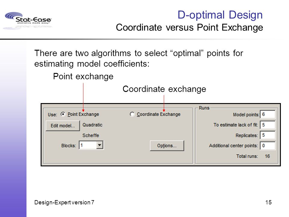 Design-Expert version 715 D-optimal Design Coordinate versus Point Exchange There are two algorithms to select optimal points for estimating model coefficients: Point exchange Coordinate exchange