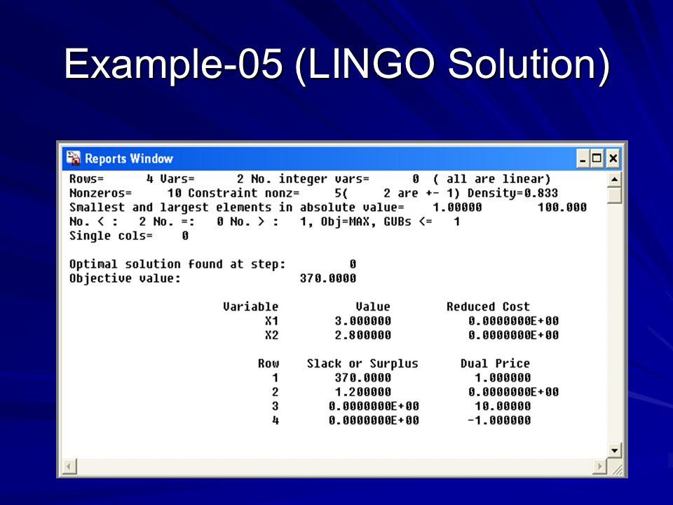 Example-05 (LINGO Solution)