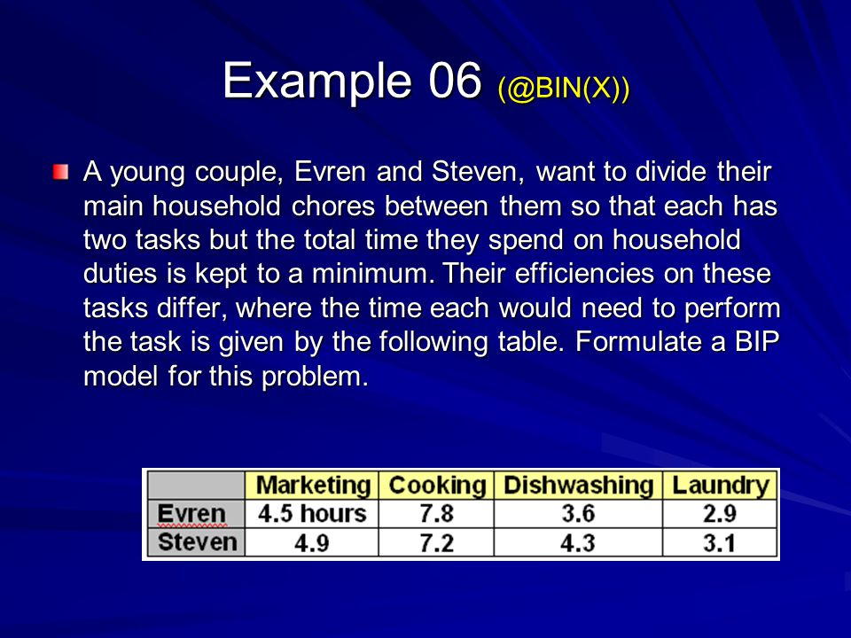 Example 06 (@BIN(X)) A young couple, Evren and Steven, want to divide their main household chores between them so that each has two tasks but the tota