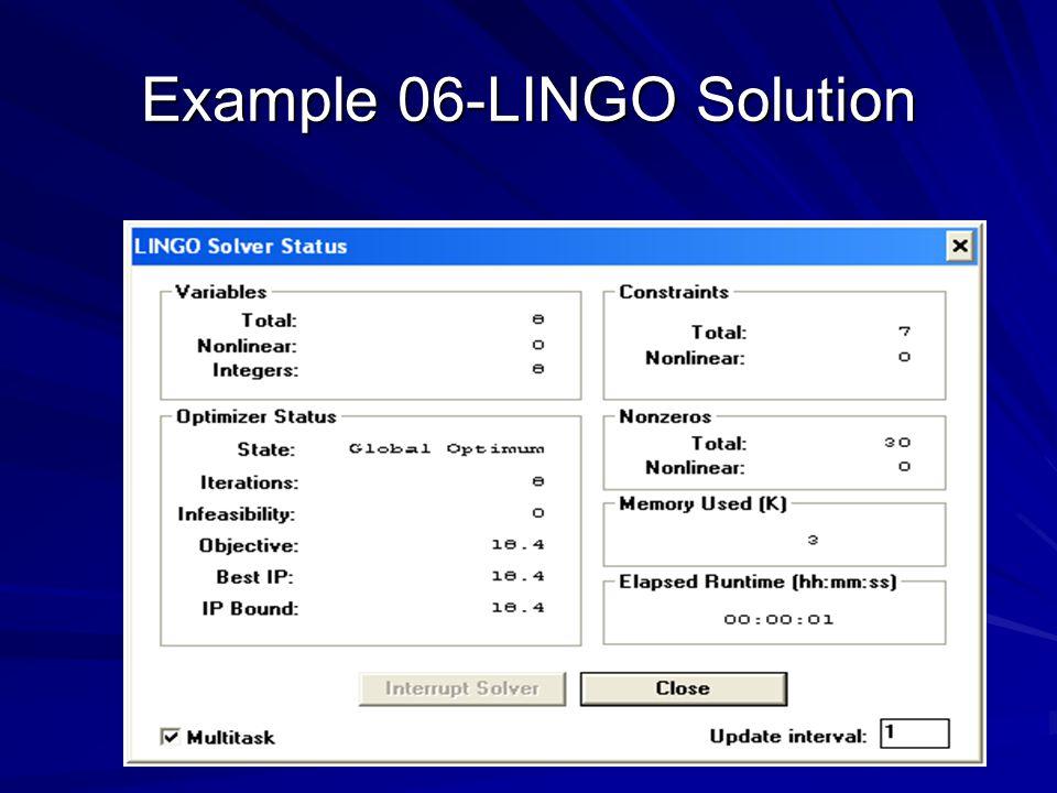 Example 06-LINGO Solution
