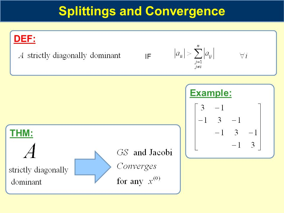 Example: Splittings and Convergence DEF: IF THM: