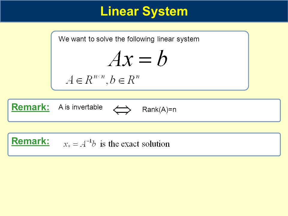 Linear System We want to solve the following linear system Remark: A is invertable Rank(A)=n Remark: