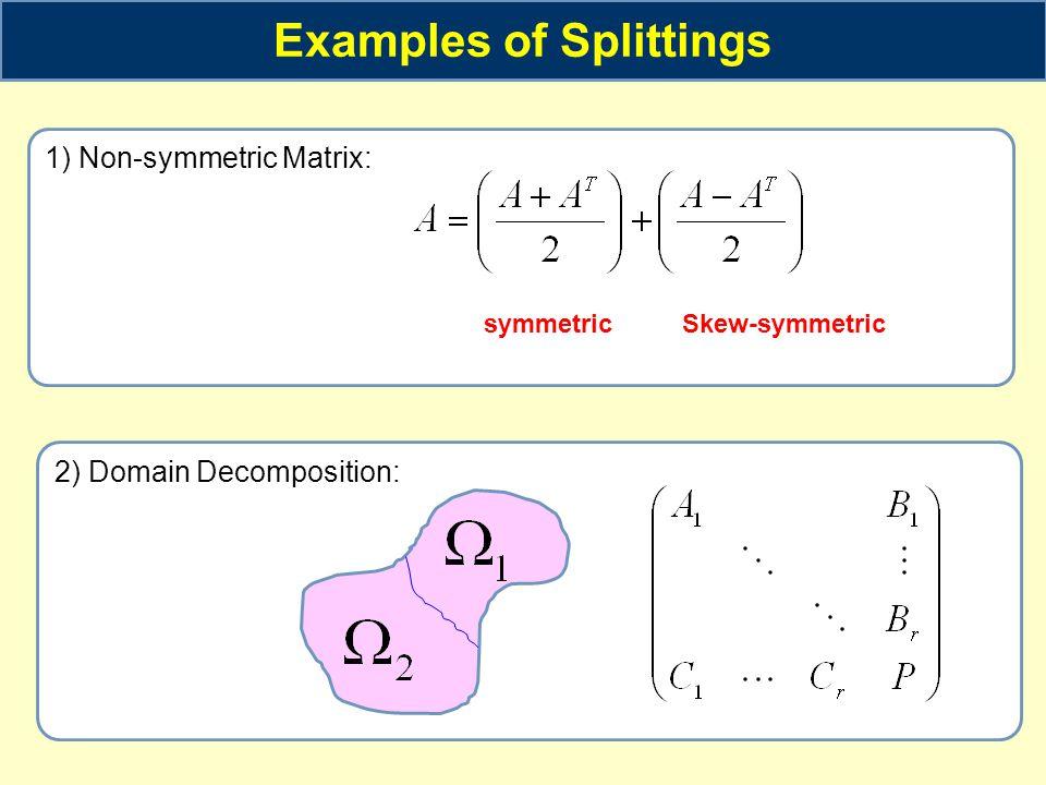 Examples of Splittings 1) Non-symmetric Matrix: 2) Domain Decomposition: symmetricSkew-symmetric