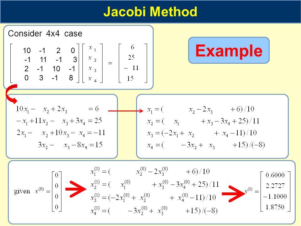 Jacobi Method Consider 4x4 case 10 -1 2 0 -1 11 -1 3 2 -1 10 -1 0 3 -1 8 Example