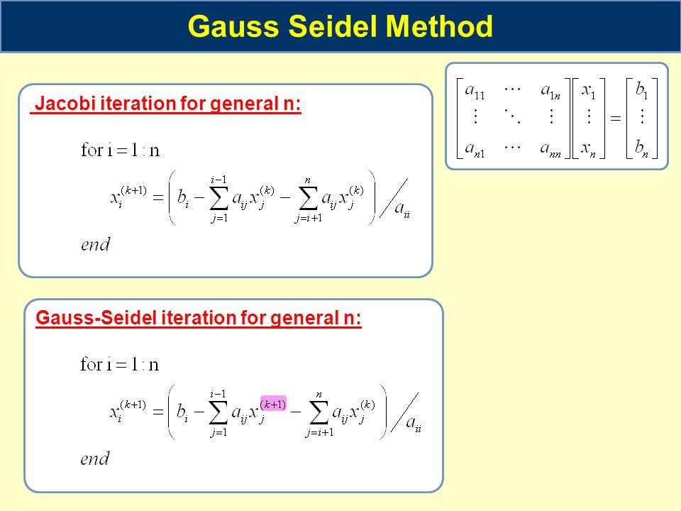 Gauss-Seidel iteration for general n: Gauss Seidel Method Jacobi iteration for general n: