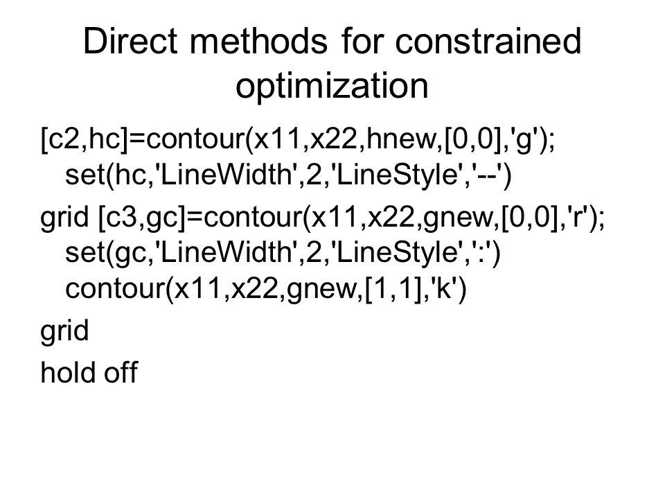 Direct methods for constrained optimization [c2,hc]=contour(x11,x22,hnew,[0,0],'g'); set(hc,'LineWidth',2,'LineStyle','--') grid [c3,gc]=contour(x11,x