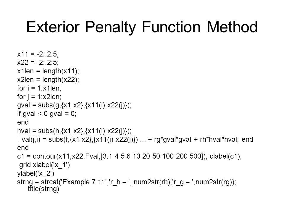 Exterior Penalty Function Method x11 = -2:.2:5; x22 = -2:.2:5; x1len = length(x11); x2len = length(x22); for i = 1:x1len; for j = 1:x2len; gval = subs