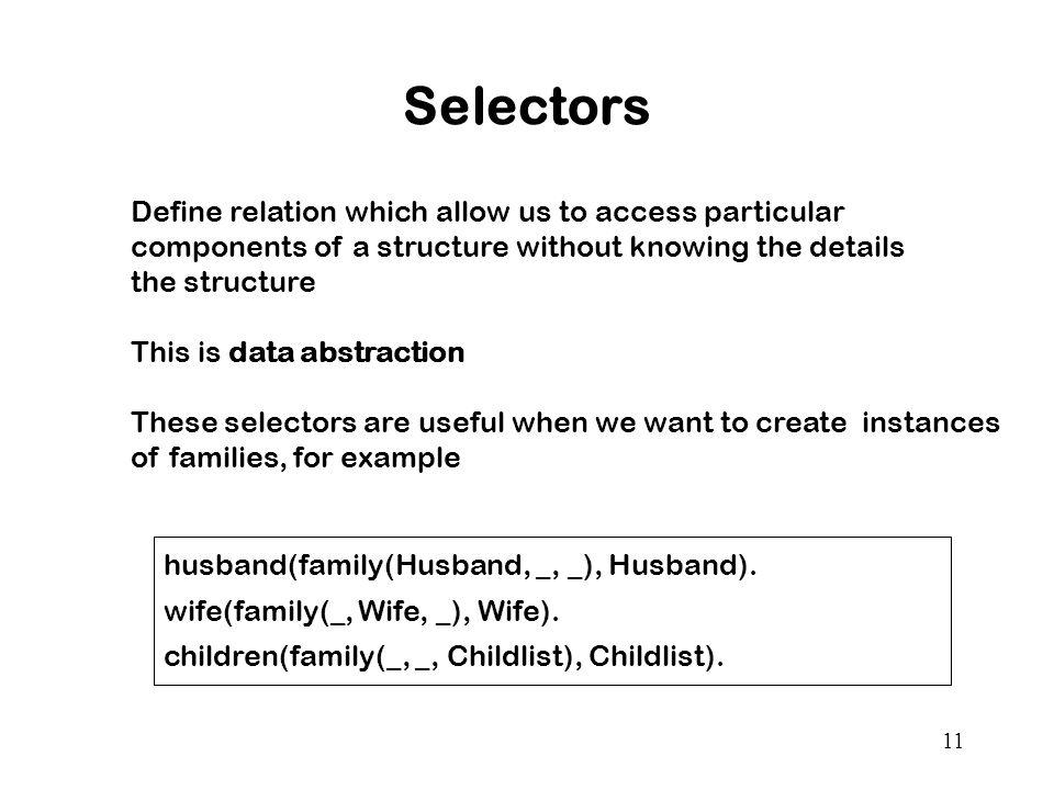 11 Selectors husband(family(Husband, _, _), Husband).