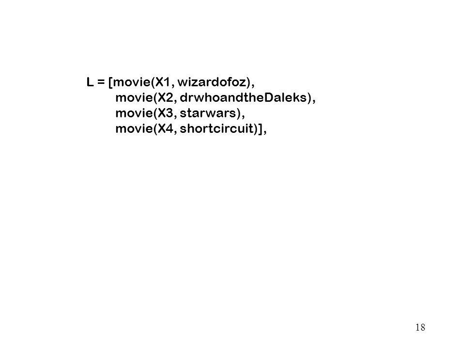 18 L = [movie(X1, wizardofoz), movie(X2, drwhoandtheDaleks), movie(X3, starwars), movie(X4, shortcircuit)],