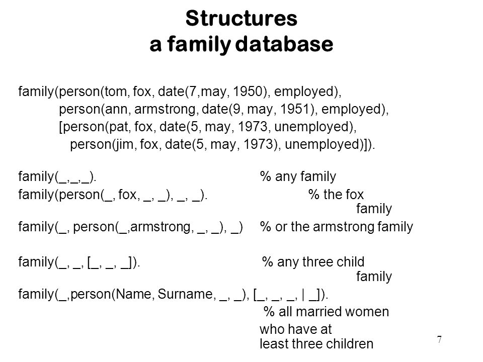 7 Structures a family database family(person(tom, fox, date(7,may, 1950), employed), person(ann, armstrong, date(9, may, 1951), employed), [person(pat, fox, date(5, may, 1973, unemployed), person(jim, fox, date(5, may, 1973), unemployed)]).