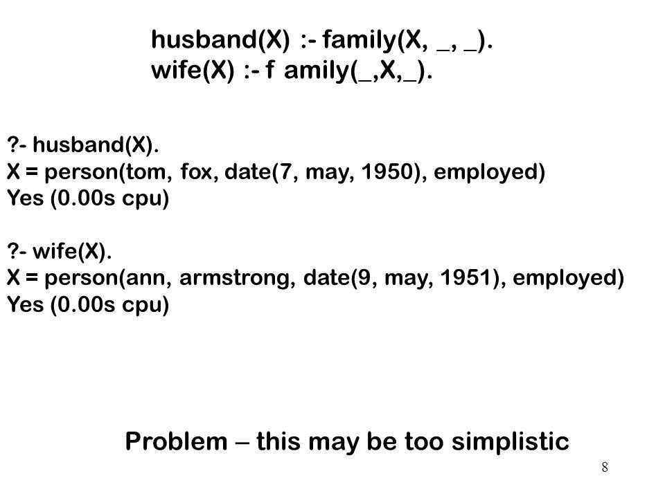 8 husband(X) :- family(X, _, _). wife(X) :- f amily(_,X,_).