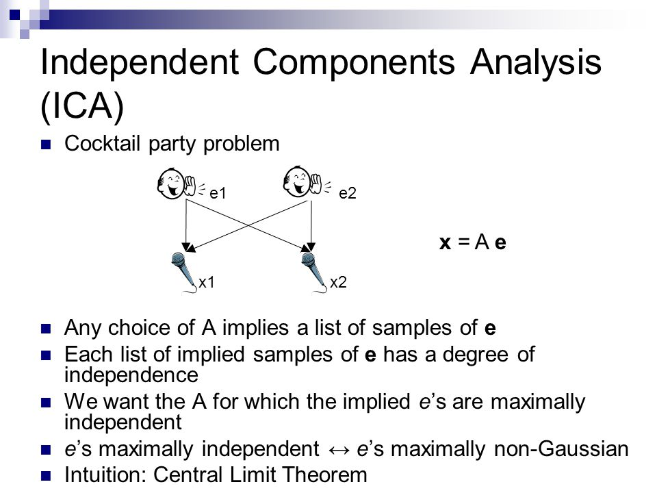 Independent Components Analysis (ICA) Cocktail party problem Any choice of A implies a list of samples of e Each list of implied samples of e has a degree of independence We want the A for which the implied e's are maximally independent e's maximally independent ↔ e's maximally non-Gaussian Intuition: Central Limit Theorem x = A e x1x2 e2e1
