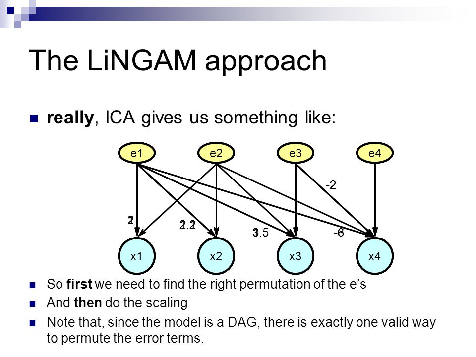 The LiNGAM approach really, ICA gives us something like: So first we need to find the right permutation of the e's And then do the scaling Note that, since the model is a DAG, there is exactly one valid way to permute the error terms.