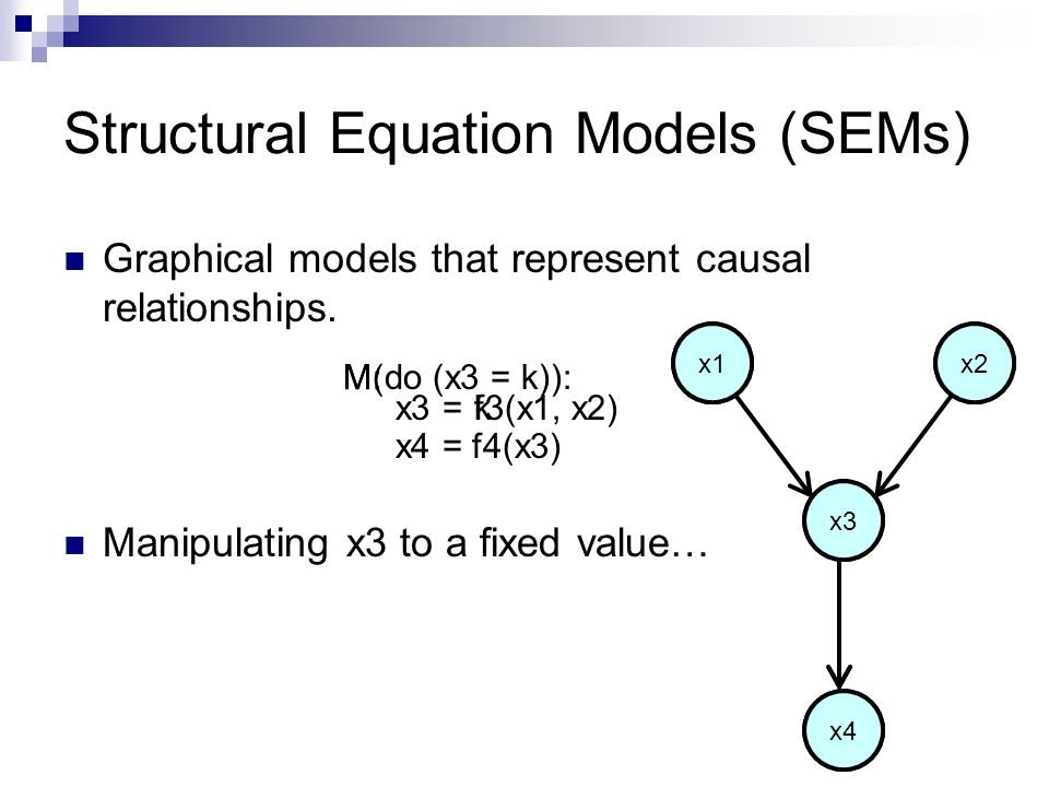 Structural Equation Models (SEMs) Graphical models that represent causal relationships.