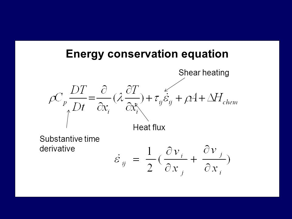 Energy conservation equation Substantive time derivative Heat flux Shear heating