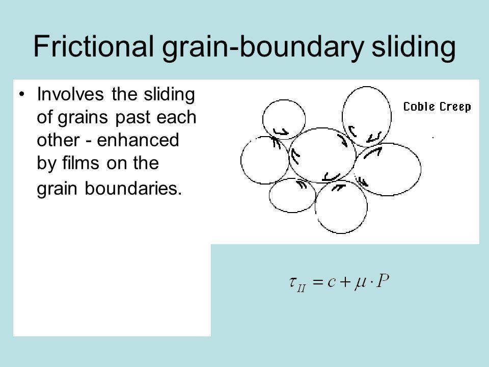 Frictional grain-boundary sliding Involves the sliding of grains past each other - enhanced by films on the grain boundaries.