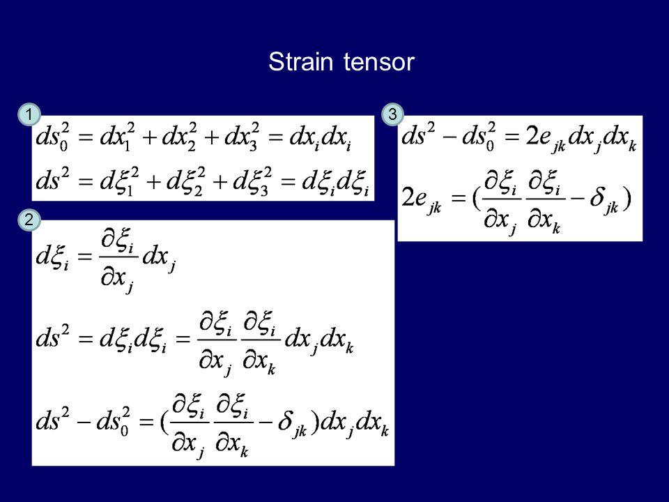 Strain tensor 1 2 3