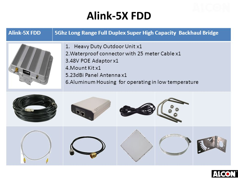 Alink-5X FDD5Ghz Long Range Full Duplex Super High Capacity Backhaul Bridge 1.