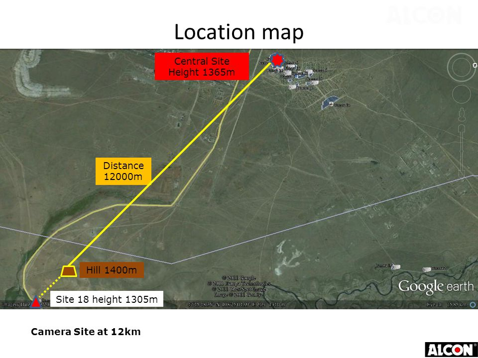 Site 18 height 1305m Distance 12000m Hill 1400m Central Site Height 1365m Camera Site at 12km Location map