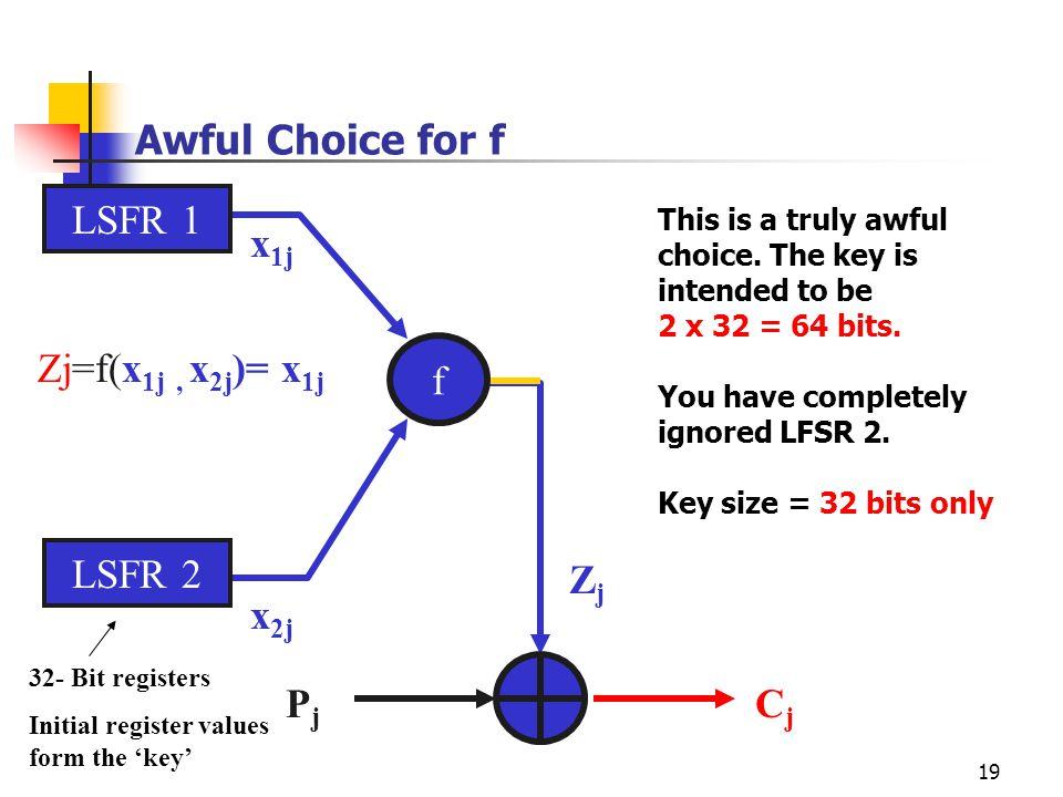 19 Awful Choice for f LSFR 1 LSFR 2 ZjZj x 1j x 2j 32- Bit registers Initial register values form the 'key' Zj=f(x 1j, x 2j )= x 1j f PjPj CjCj This i