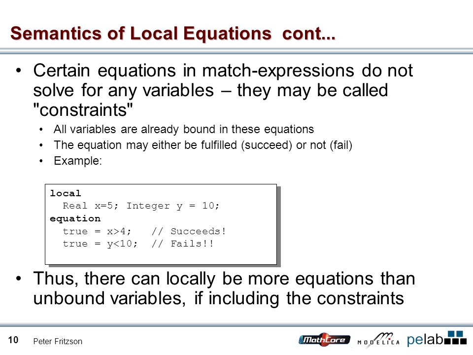 Peter Fritzson 10 Semantics of Local Equations cont...