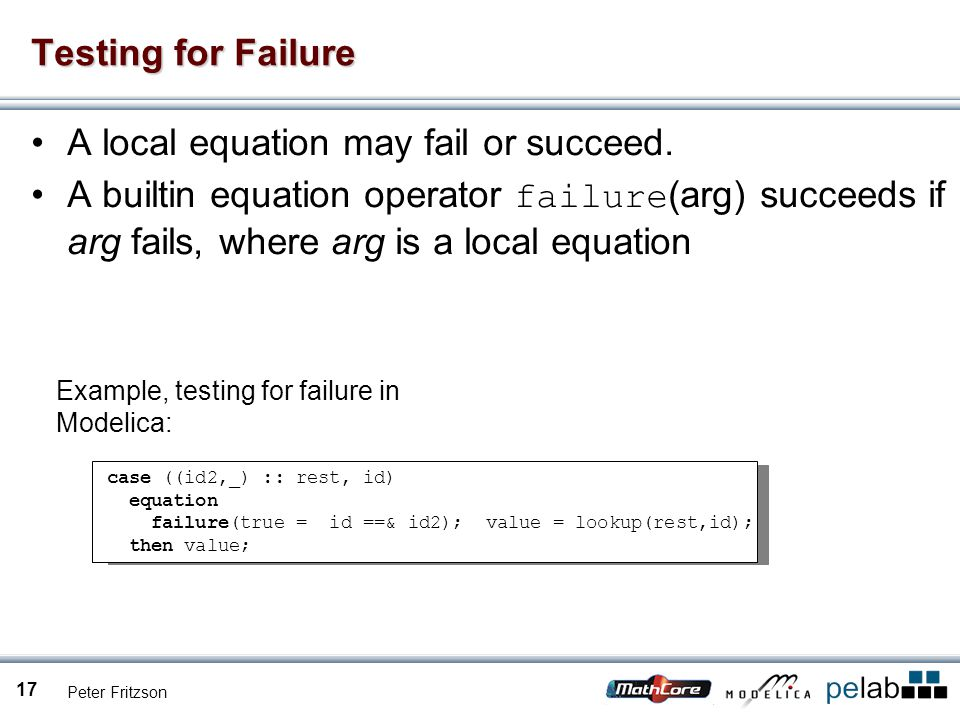 Peter Fritzson 17 Testing for Failure A local equation may fail or succeed.