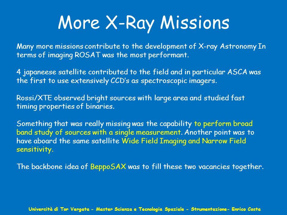 More X-Ray Missions Università di Tor Vergata - Master Scienza e Tecnologia Spaziale - Strumentazione- Enrico Costa Many more missions contribute to the development of X-ray Astronomy In terms of imaging ROSAT was the most performant.