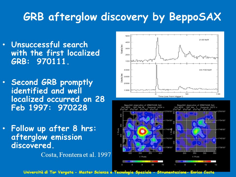 GRB afterglow discovery by BeppoSAX Unsuccessful search with the first localized GRB: 970111.