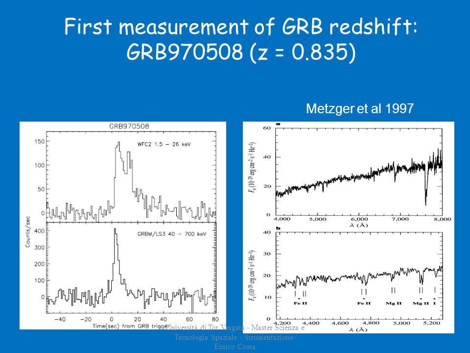 Metzger et al 1997 First measurement of GRB redshift: GRB970508 (z = 0.835) Università di Tor Vergata - Master Scienza e Tecnologia Spaziale - Strumentazione- Enrico Costa