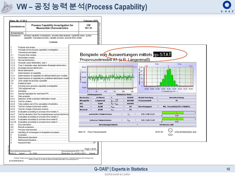 Q–DAS ® | Experts in Statistics VW – 공정 능력 분석 (Process Capability) 10 Q-DAS GmbH & Co.KG>