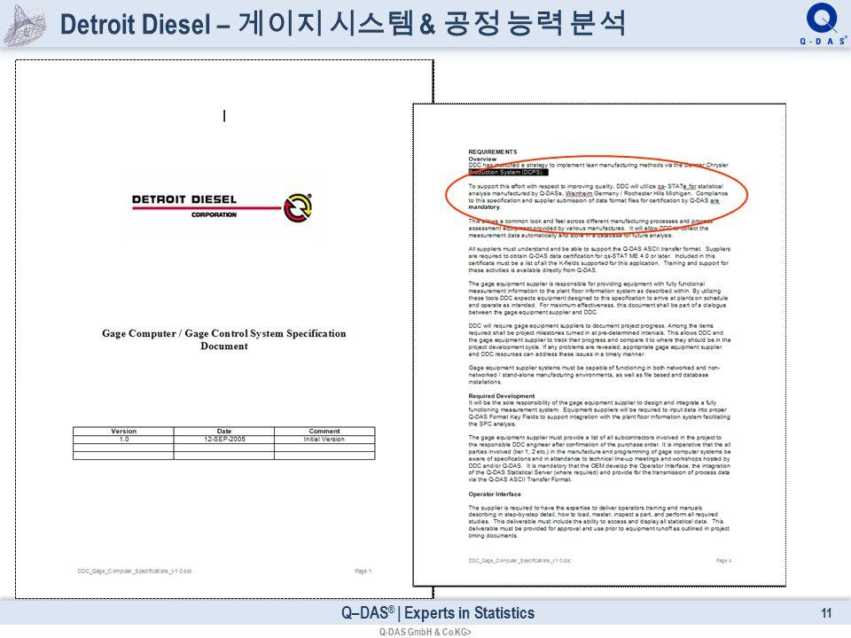 Q–DAS ® | Experts in Statistics Detroit Diesel – 게이지 시스템 & 공정 능력 분석 11 Q-DAS GmbH & Co.KG>