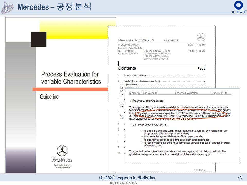 Q–DAS ® | Experts in Statistics Mercedes – 공정 분석 13 Q-DAS GmbH & Co.KG>