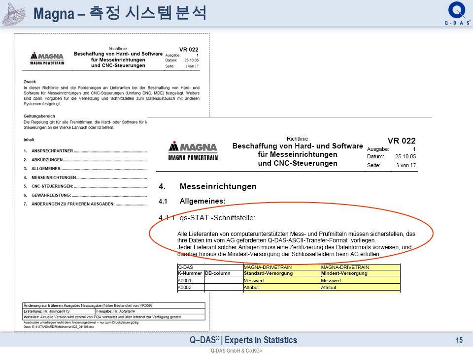 Q–DAS ® | Experts in Statistics Magna – 측정 시스템 분석 15 Q-DAS GmbH & Co.KG>