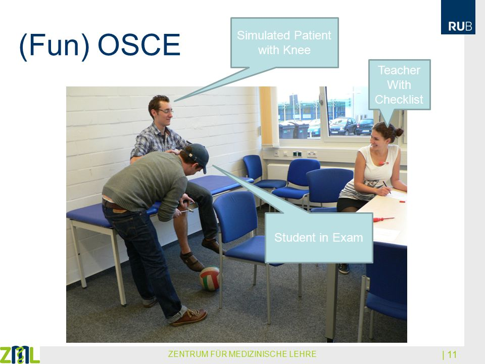 (Fun) OSCE ZENTRUM FÜR MEDIZINISCHE LEHRE | 11 Teacher With Checklist Simulated Patient with Knee Student in Exam