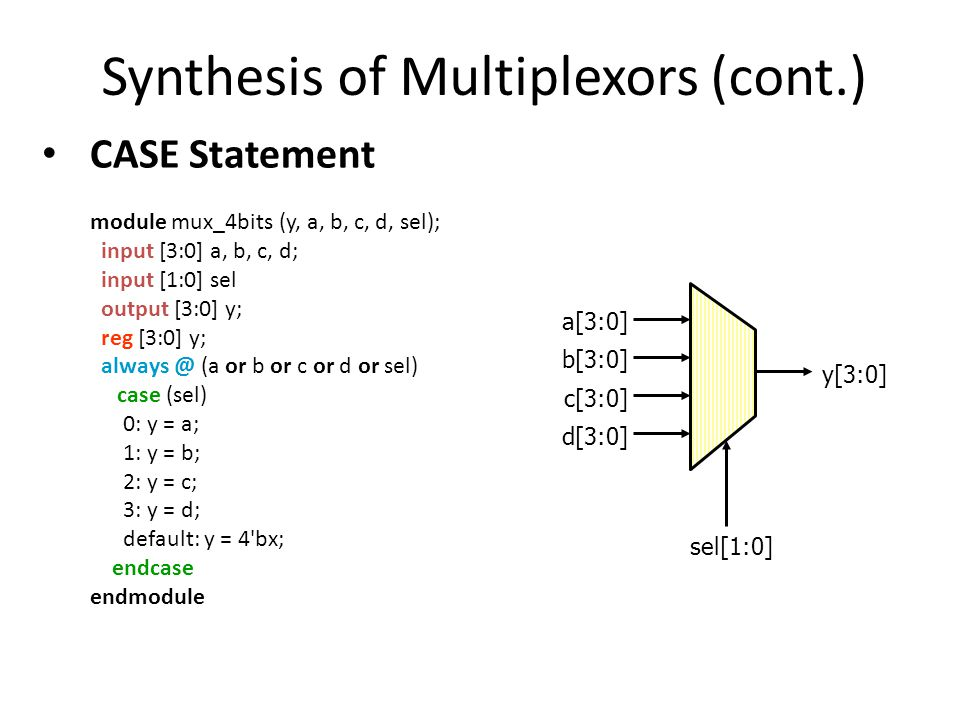 Synthesis of Multiplexors (cont.) CASE Statement module mux_4bits (y, a, b, c, d, sel); input [3:0] a, b, c, d; input [1:0] sel output [3:0] y; reg [3