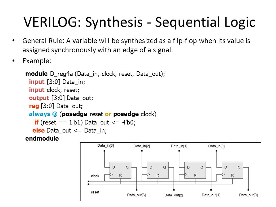 VERILOG: Synthesis - Sequential Logic General Rule: A variable will be synthesized as a flip-flop when its value is assigned synchronously with an edg