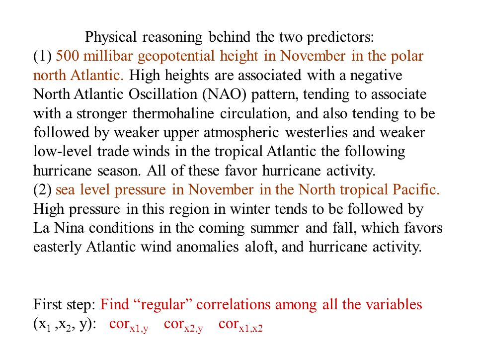 Physical reasoning behind the two predictors: (1) 500 millibar geopotential height in November in the polar north Atlantic. High heights are associate