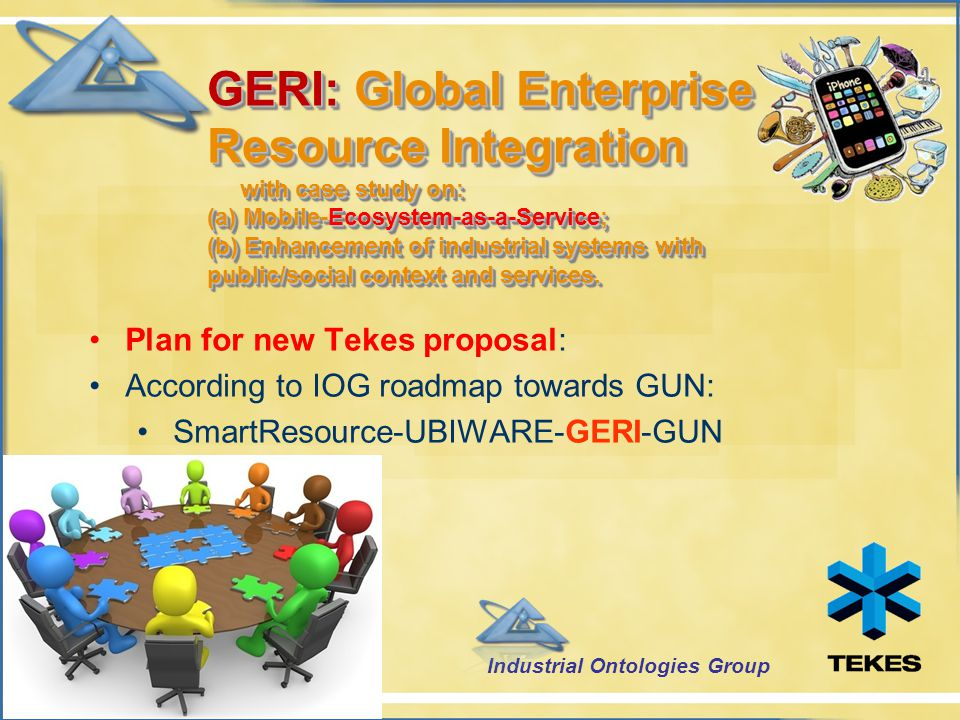 GERI: Global Enterprise Resource Integration with case study on: (a) Mobile-Ecosystem-as-a-Service; (b) Enhancement of industrial systems with public/social context and services.