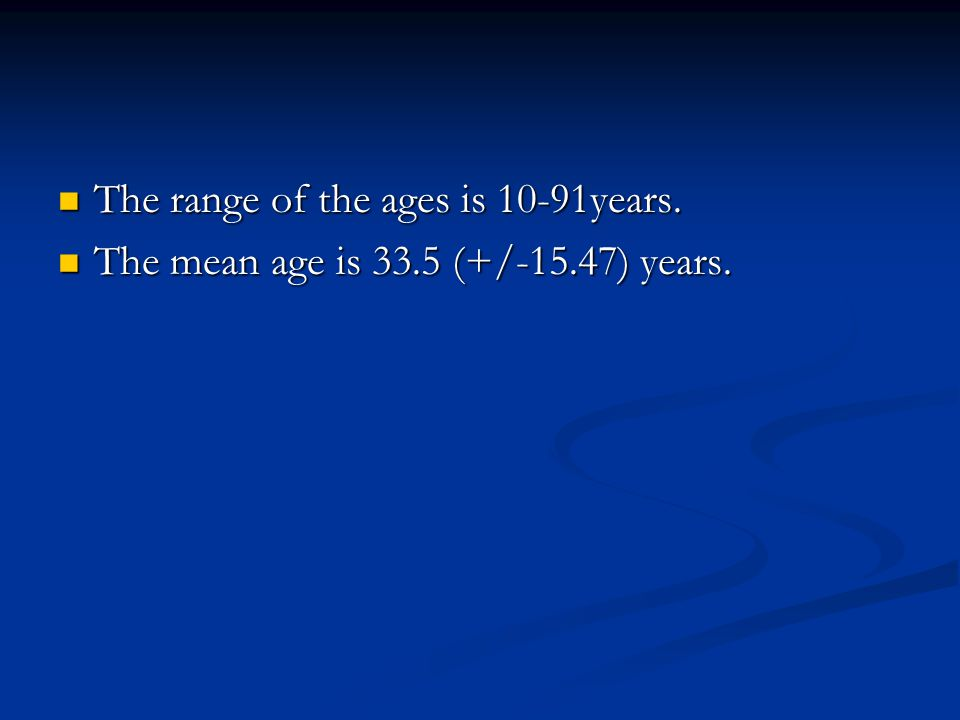 The range of the ages is 10-91years. The range of the ages is 10-91years.