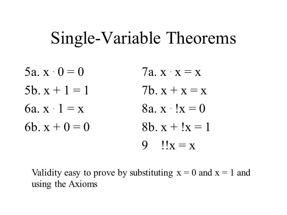 Single-Variable Theorems 5a.x. 0 = 0 5b. x + 1 = 1 6a.