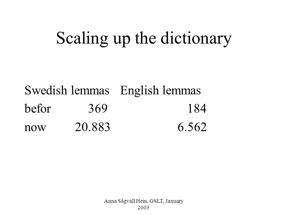 Anna Sågvall Hein, GSLT, January 2003 Scaling up the dictionary Swedish lemmas English lemmas befor 369 184 now 20.883 6.562