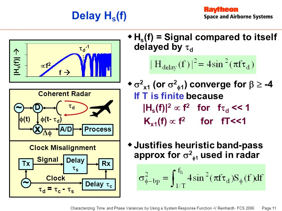 Page 11 Characterizing Time and Phase Variances by Using a System Response Function -V Reinhardt- FCS 2006 Delay H s (f)  H s (f) = Signal compared to itself delayed by  d   2 x1 (or  2  1 ) converge for   -4 If T is finite because |H s (f)| 2  f 2 for f  d << 1 K x1 (f)  f 2 for fT<<1  Justifies heuristic band-pass approx for  2  1 used in radar ~ Tx Clock Misalignment Signal Delay  c Rx Clock Delay  s  d =  c -  s ~ Coherent Radar x D dd  (t)  (t-  d )  ProcessA/D |H s (f)|  f   d -1 f2f2