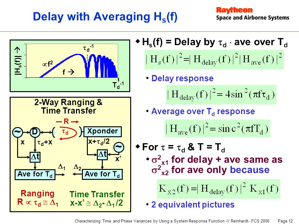 Page 12 Characterizing Time and Phase Variances by Using a System Response Function -V Reinhardt- FCS 2006 Delay with Averaging H s (f)  H s (f) = Delay by  d  ave over T d Delay response  Average over T d response  For  =  d & T = T d  2 x1 for delay + ave same as  2 x2 for ave only because 2 equivalent pictures ~ 2-Way Ranging & Time Transfer D x  d +x tt Xponder ~ x' tt Ranging R   d   1 Time Transfer x-x'   2 -  1 /2 x+  d /2 dd R Ave for T d 11 22 |H s (f)|  f   d -1 T d -1 f2f2