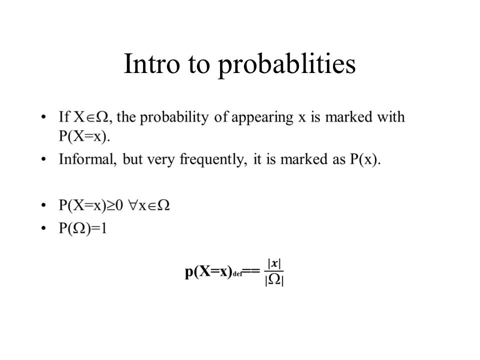 Intro to probablities