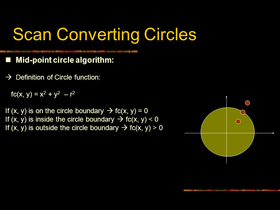 Scan Converting Circles Mid-point circle algorithm:  Definition of Circle function: fc(x, y) = x 2 + y 2 – r 2 If (x, y) is on the circle boundary 