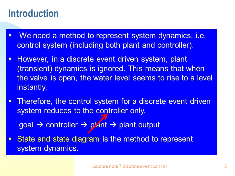 Lecture note 7 discrete event control6 State Diagram  States: indicators that system changes  State Variables: assign a name to each independent class of states.