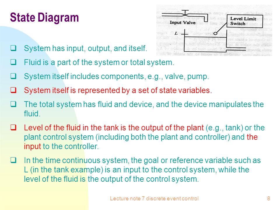 Lecture note 7 discrete event control9 State Diagram: how to identify the state variable Control system (X: state variable) Level of fluid: LLS Remain to see what is X and what is the output (to controller).