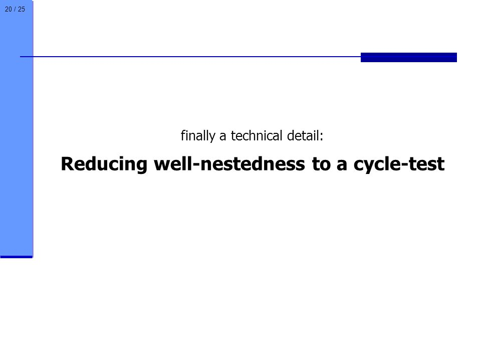 20 / 25 finally a technical detail: Reducing well-nestedness to a cycle-test